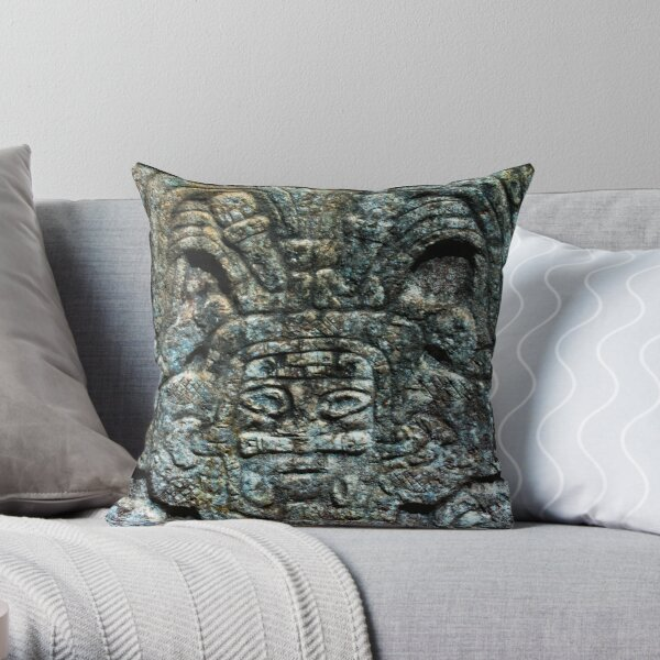 Mayan Stone Sculpture from Chichen Itza Throw Pillow