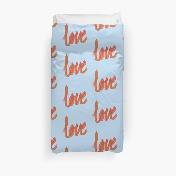 Written Love | Red/Orange | Blue Background  Duvet Cover