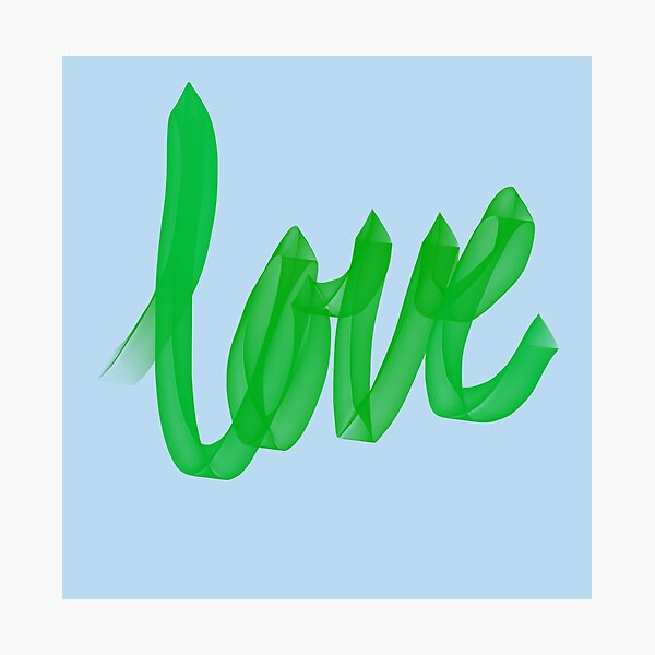 Written Love | Green | Blue Background  Photographic Print