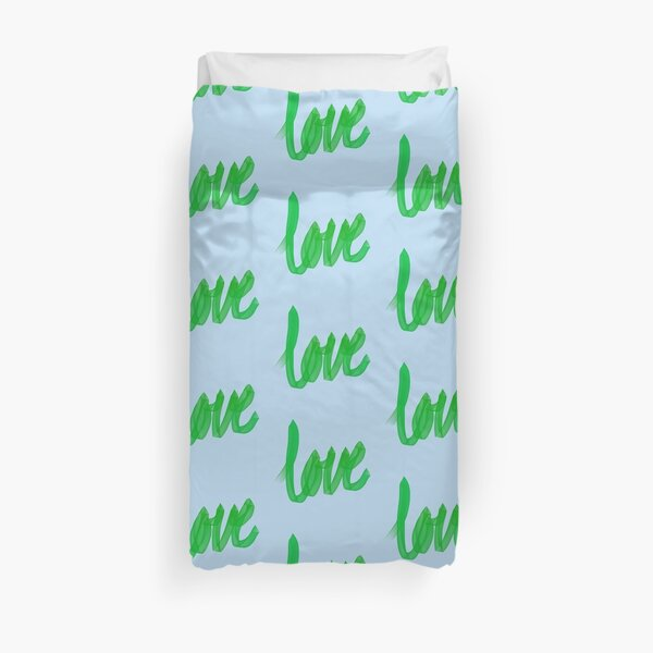 Written Love | Green | Blue Background  Duvet Cover