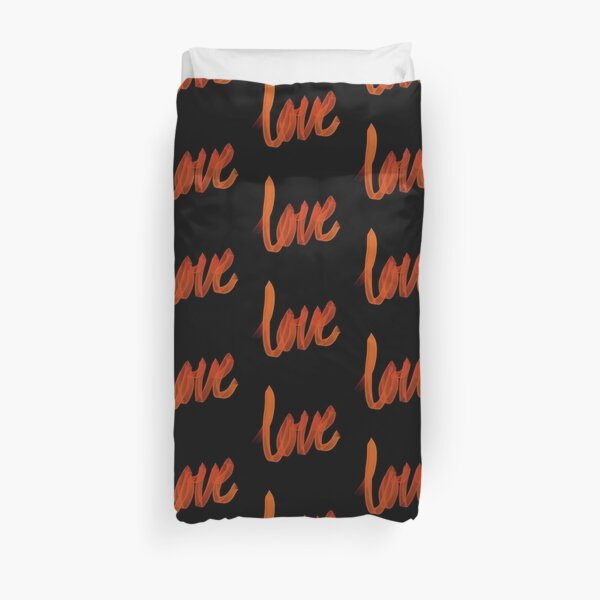 Written Love | Orange | Black Background  Duvet Cover