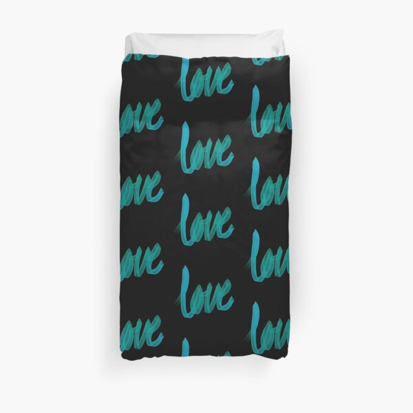 Written Love | Aqua/Turquoise | Black Background  Duvet Cover