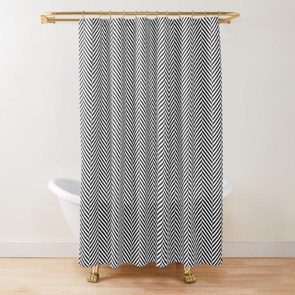 Classic Black and White Herringbone Pattern Shower Curtain