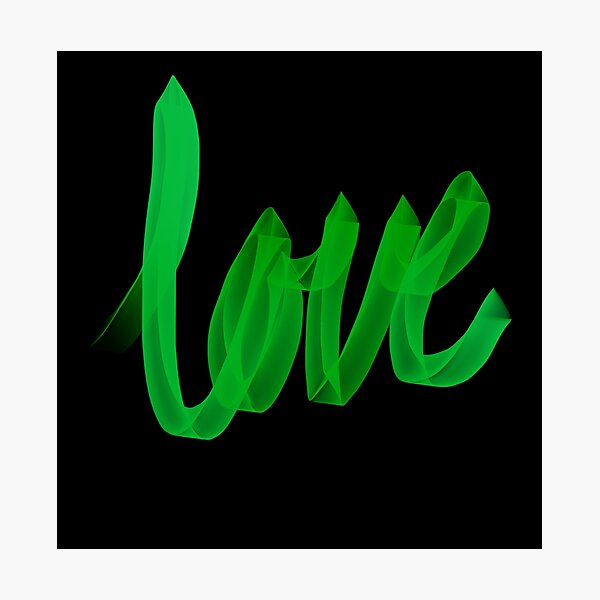 Written Love | Green | Black Background  Photographic Print