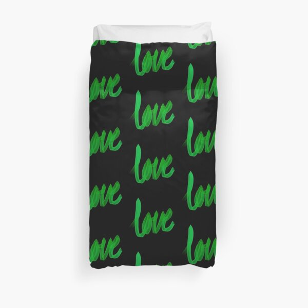 Written Love | Green | Black Background  Duvet Cover