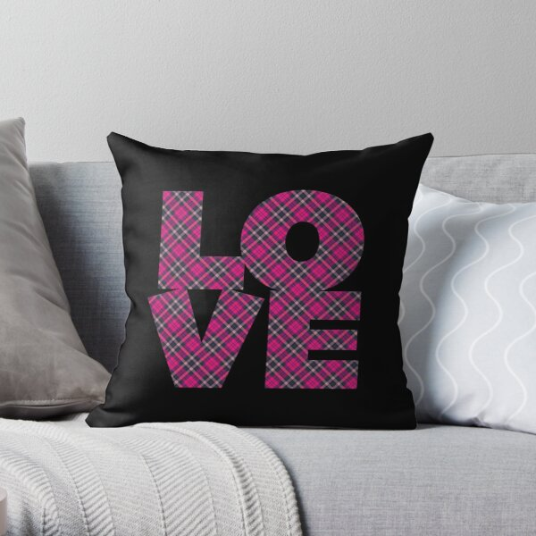 Pink Plaid L-O-V-E Throw Pillow