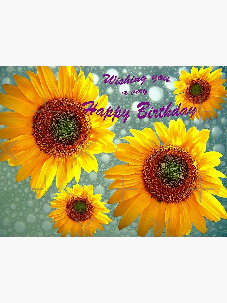 """Happy Birthday Sunflowers"" Metal Print by FrankieCat ..."