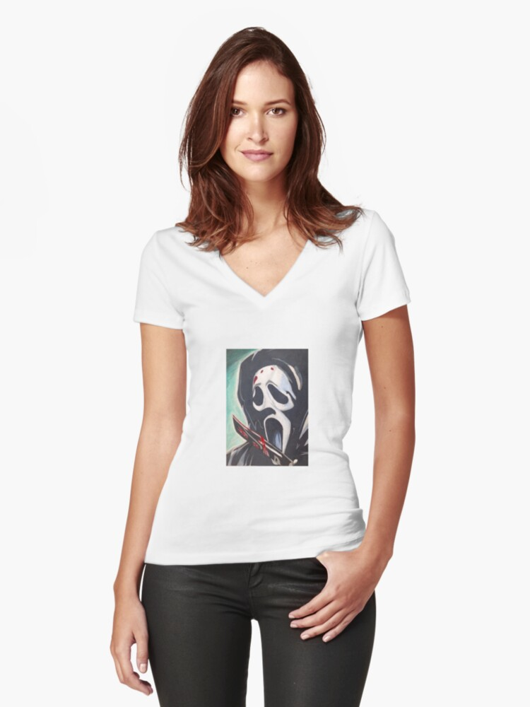 Scream Women's Fitted V-Neck T-Shirt Front