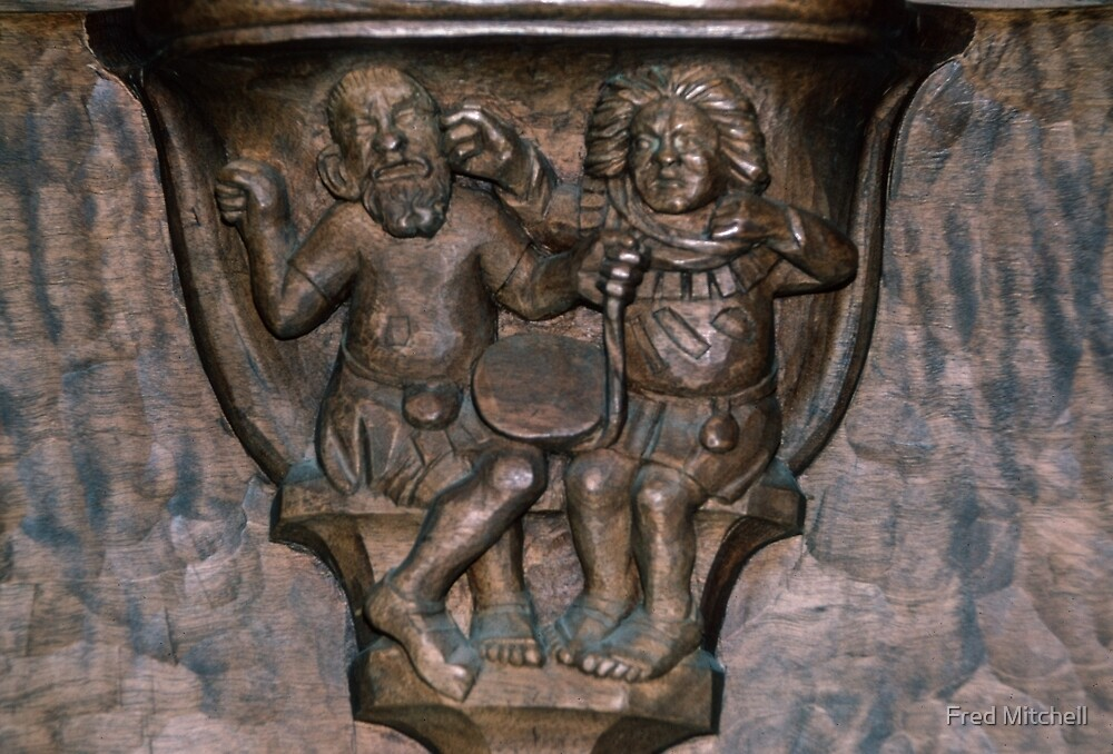 Argument on choir seat cathedral Basel Switzerland 19840629 0038 by Fred Mitchell