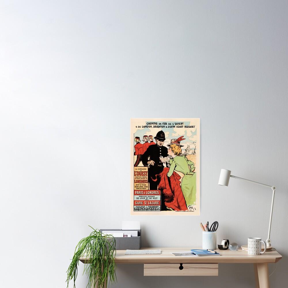 Chemin de fer Paris to London railways advertising vintage poster