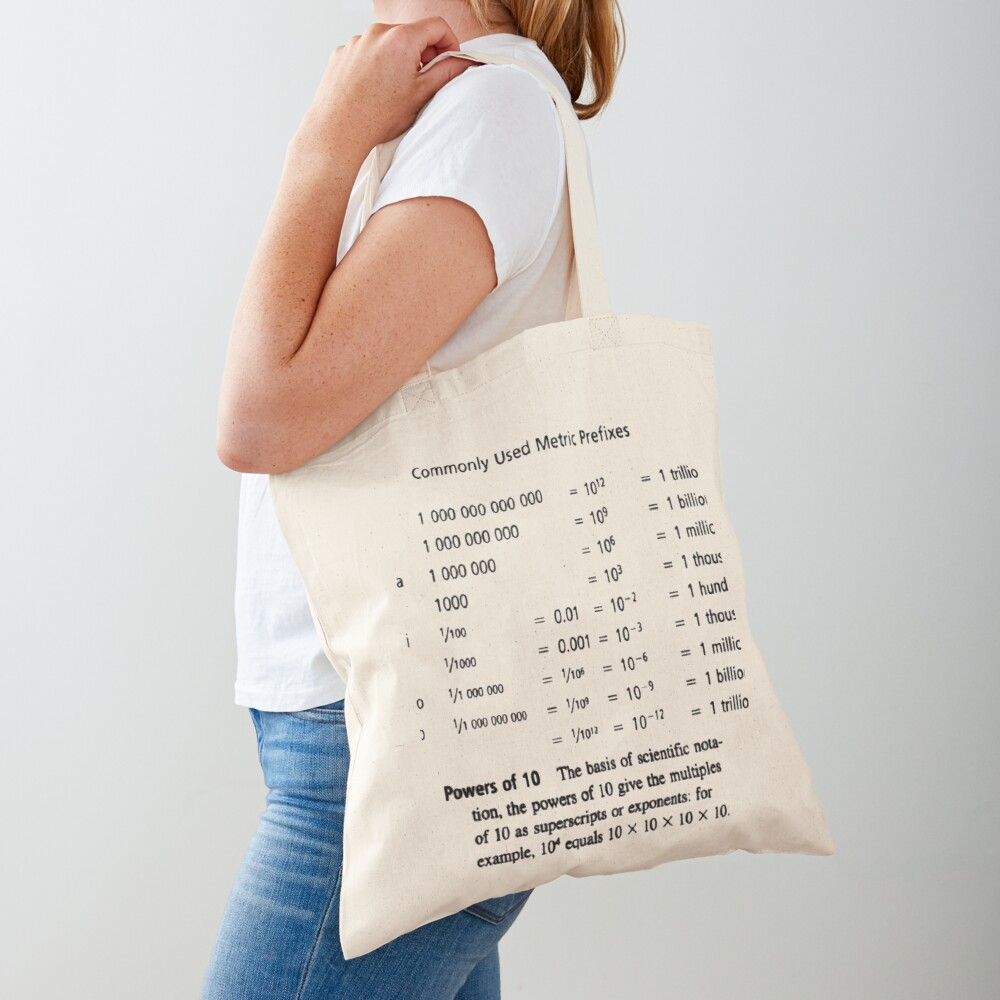 Commonly Used Metric Prefixes Tote Bag