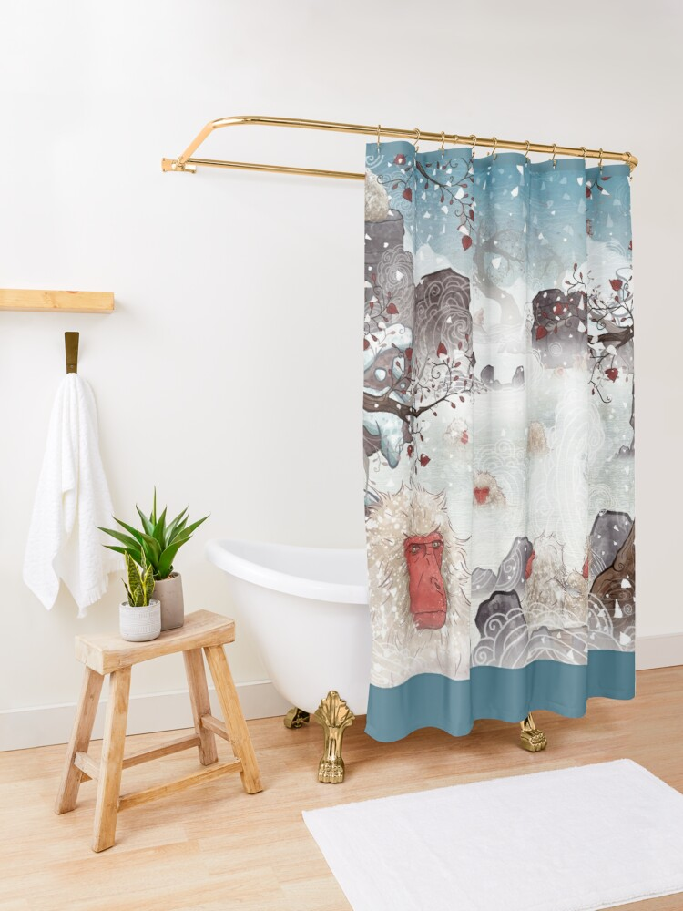 Alternate view of Soaking Japanese Snow Monkeys Shower Curtain