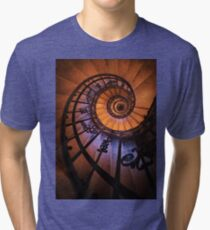 Spiral staircase  in orange and blue Tri-blend T-Shirt