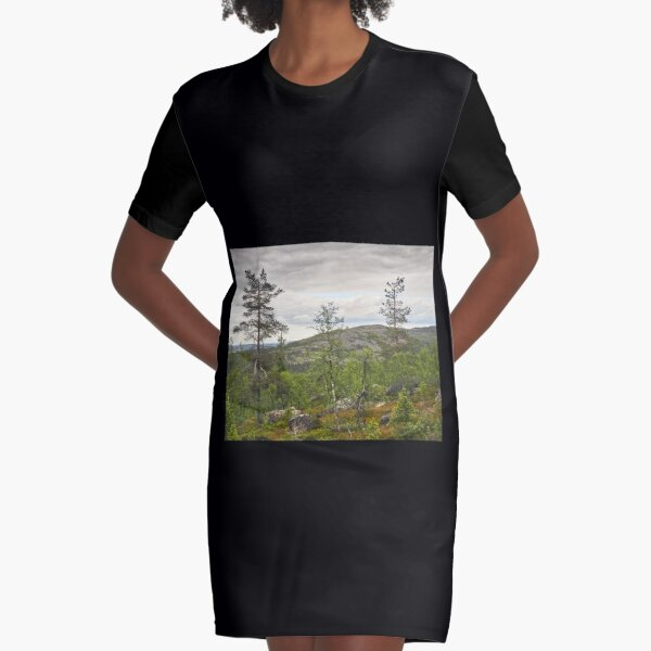 A view to north from Pyha Nattanen Graphic T-Shirt Dress