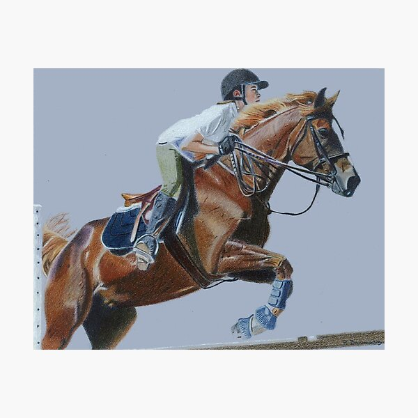 Life's Hurdles with Grace - Horse & Rider Jumping Photographic Print
