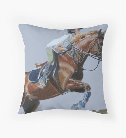 Life's Hurdles with Grace - Horse & Rider Jumping Throw Pillow