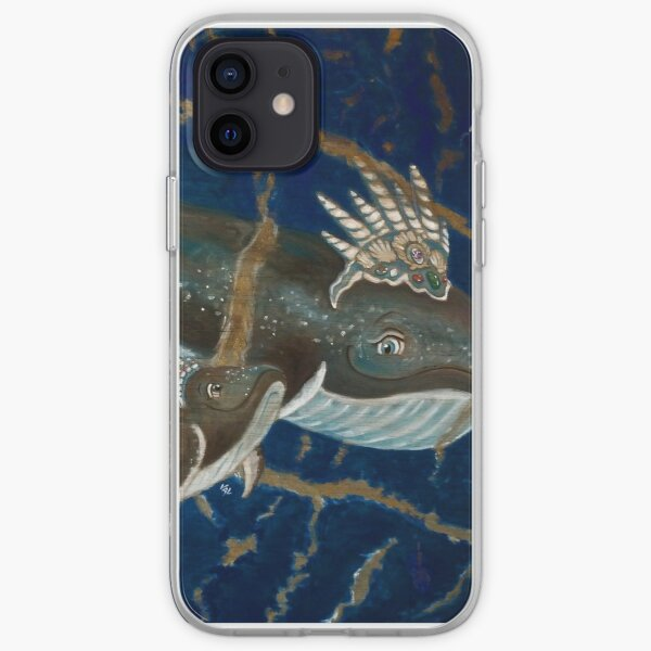Mother Whale and her Baby in Lapis Lazuli Sea iPhone Soft Case
