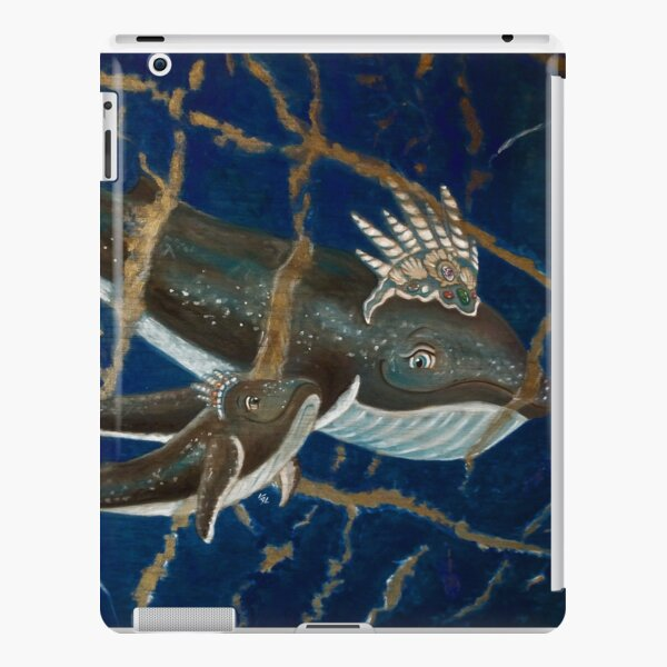 Mother Whale and her Baby in Lapis Lazuli Sea iPad Snap Case