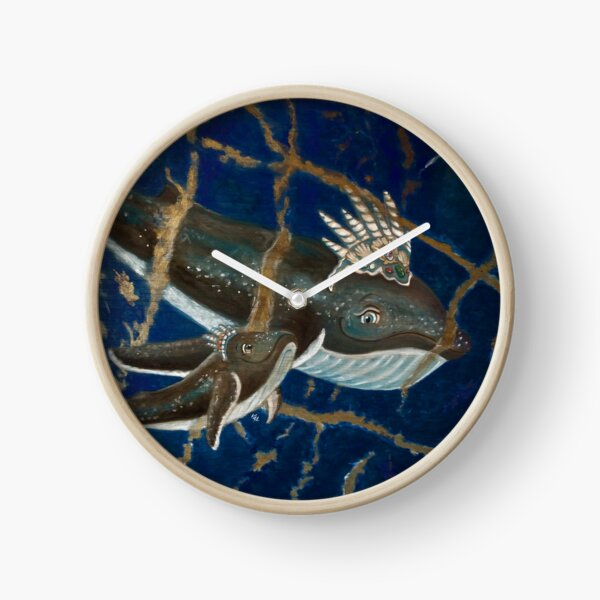 Mother Whale and her Baby in Lapis Lazuli Sea Clock