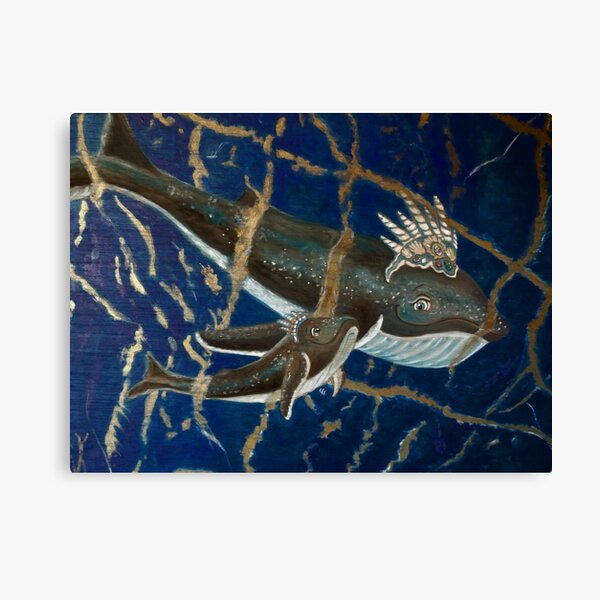 Mother Whale and her Baby in Lapis Lazuli Sea Canvas Print