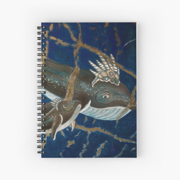Mother Whale and her Baby in Lapis Lazuli Sea Spiral Notebook