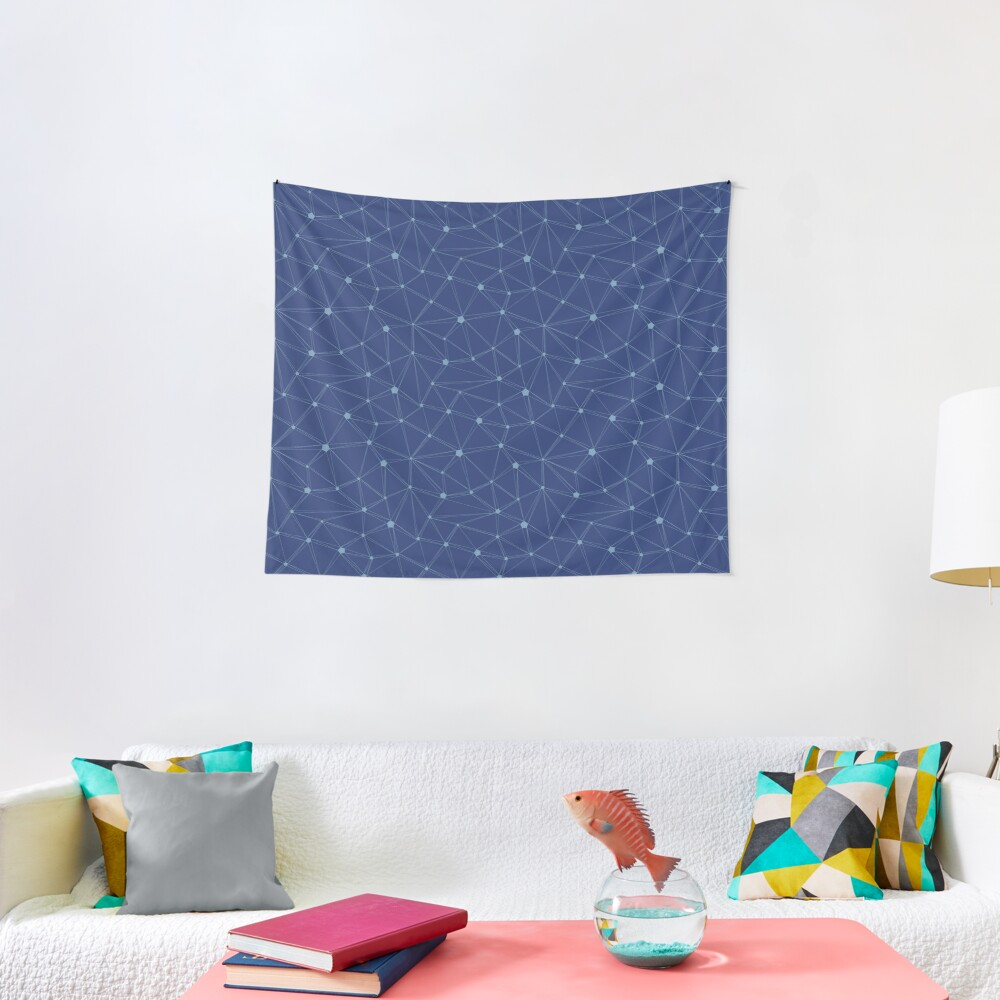 Pentagon grid classic blue Tapestry