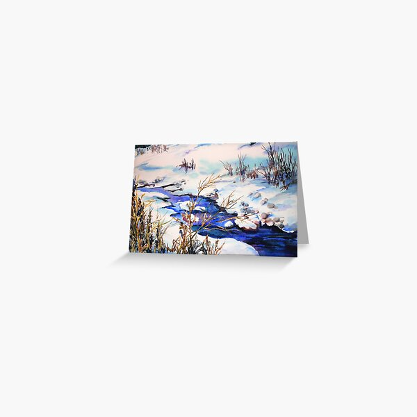 Snowy stream (sold) Greeting Card
