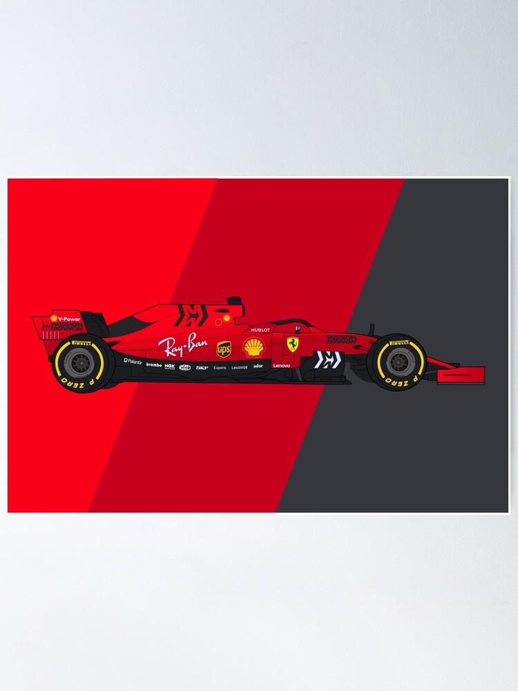 Alternate view of Formula 1 Scuderia Ferrari SF90 Digital Artwork Poster
