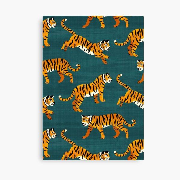 Tigres de Bengala - Azul marino Lienzo