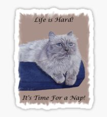 Life is Hard! It's Time For a Nap! Himalayan Cat T-Shirt Sticker