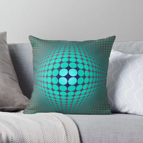 Copy of  Victor Vasarely Homage 58 Throw Pillow