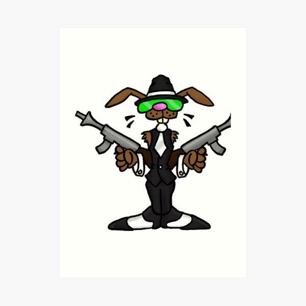 Rabbits With Machine Guns - Teen Rock Band Art Print
