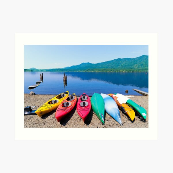 Beached Kayaks Art Print