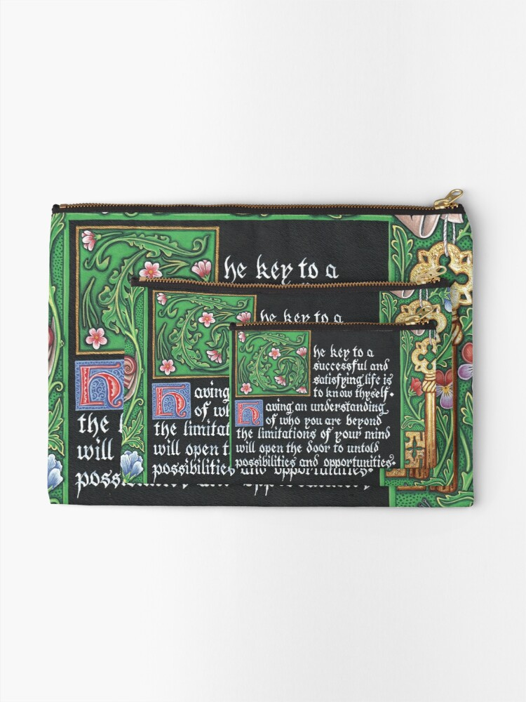 Alternate view of Medieval Illumination - Know Thyself Zipper Pouch