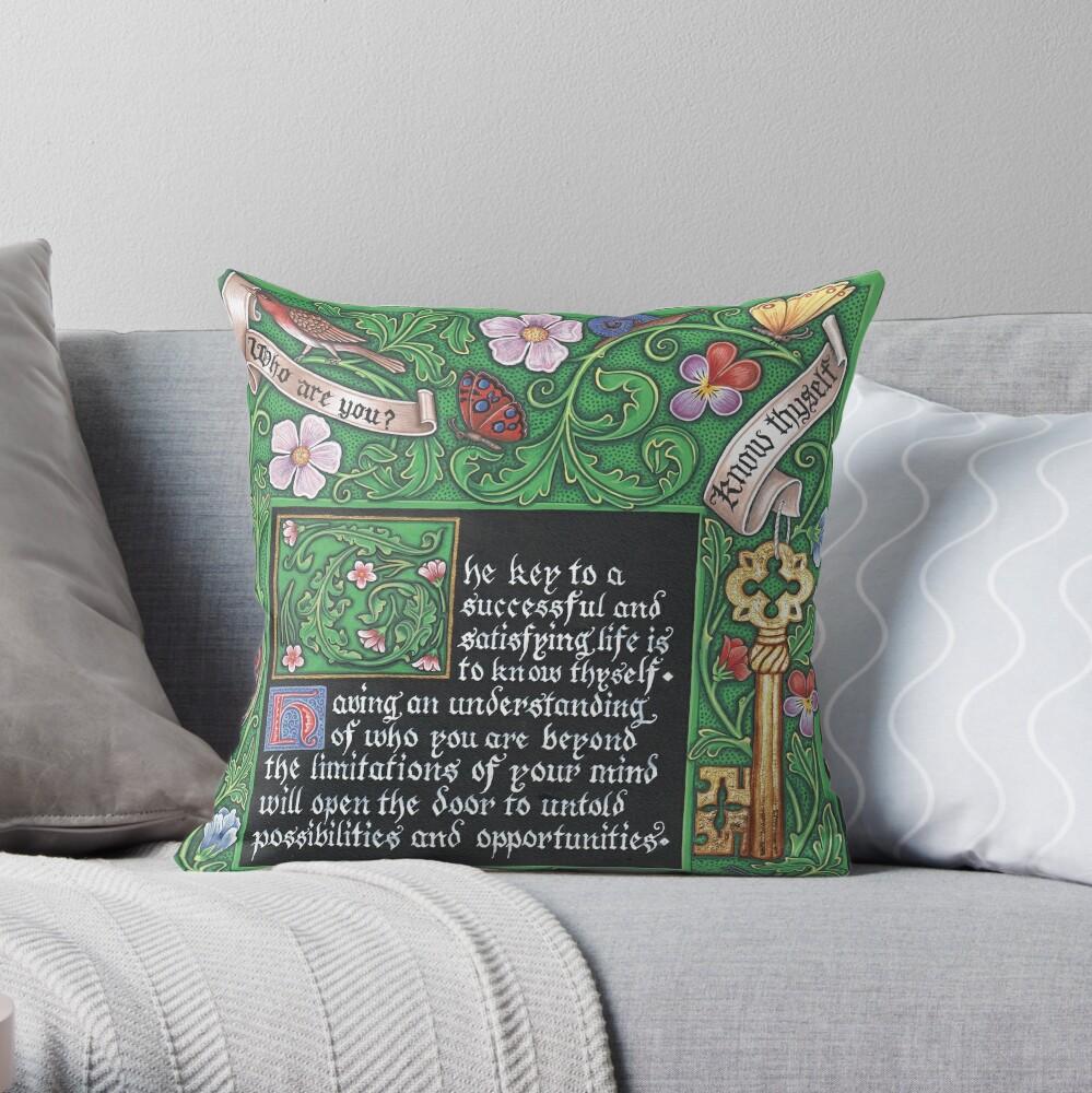 Medieval Illumination - Know Thyself Throw Pillow
