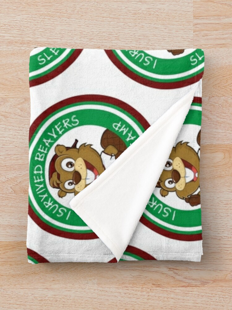 Alternate view of Beaver Scout or Scouter Sleepover Survivor Throw Blanket