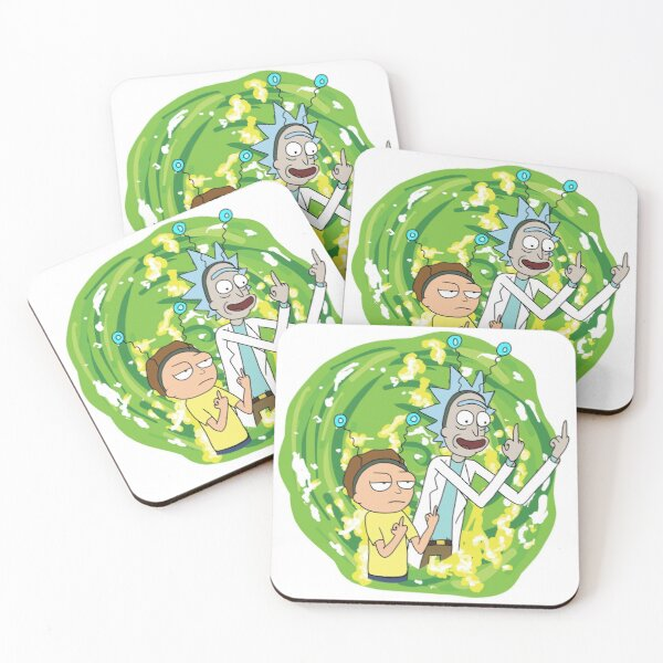 Rick and morty middle finger Coasters (Set of 4)