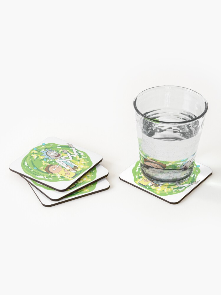 Alternate view of Rick and morty middle finger Coasters (Set of 4)