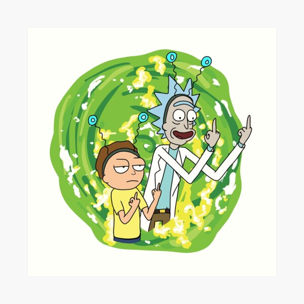 Rick and morty middle finger Art Print