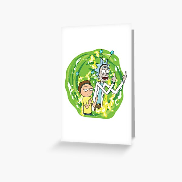 Rick and morty middle finger Greeting Card
