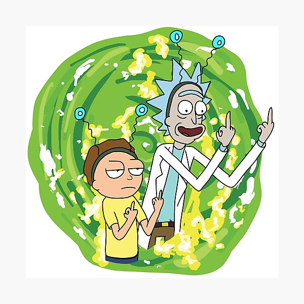 Rick and morty middle finger Photographic Print
