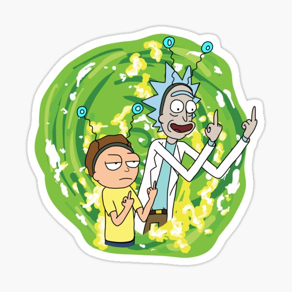 Rick y morty dedo medio Pegatina