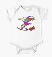 Crazy Witch Surfing on her Broom One Piece - Short Sleeve