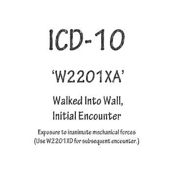 ICD-10: W2201XA Walked Into Wall, Initial Encounter by Shutterbug-csg
