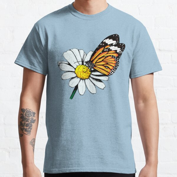 Monarch Butterfly on Daisy Classic T-Shirt