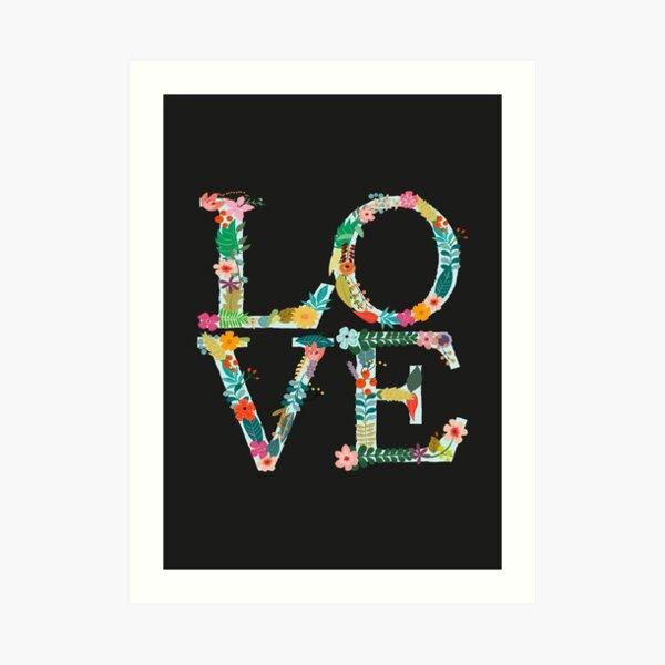 Floral L-O-V-E Letters Art Print