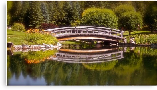 Garden Bridge Reflections by Linda Bianic
