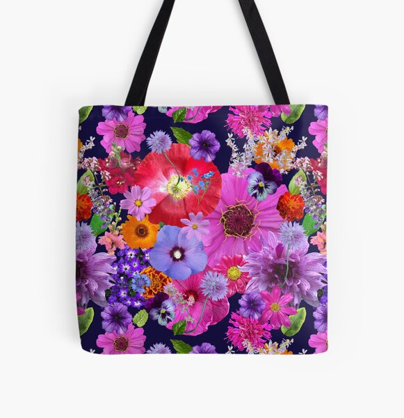 Dreaming in the Garden Bed in Blue by Tea with Xanthe All Over Print Tote Bag