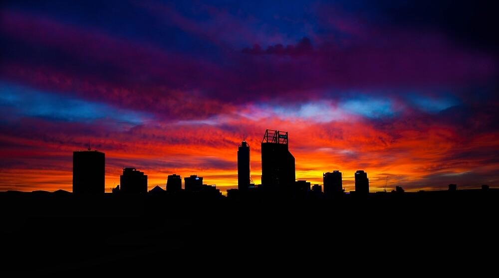 Perth city sunrise silhouette, Western Australia by Marc Russo
