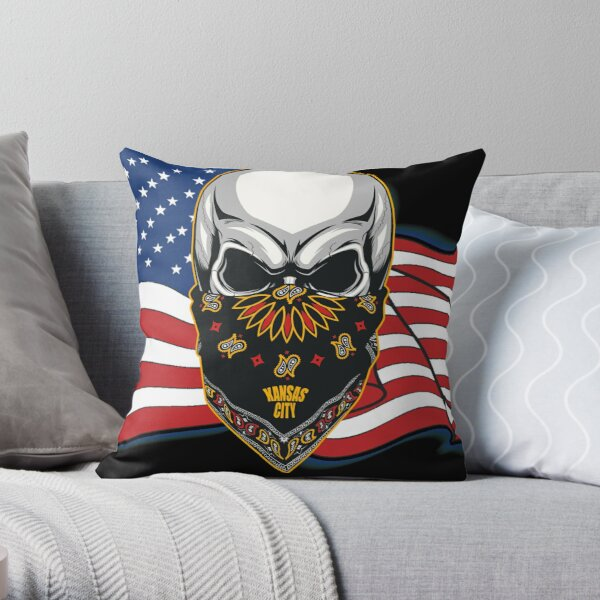 Kansas City flag united states with skull head Throw Pillow